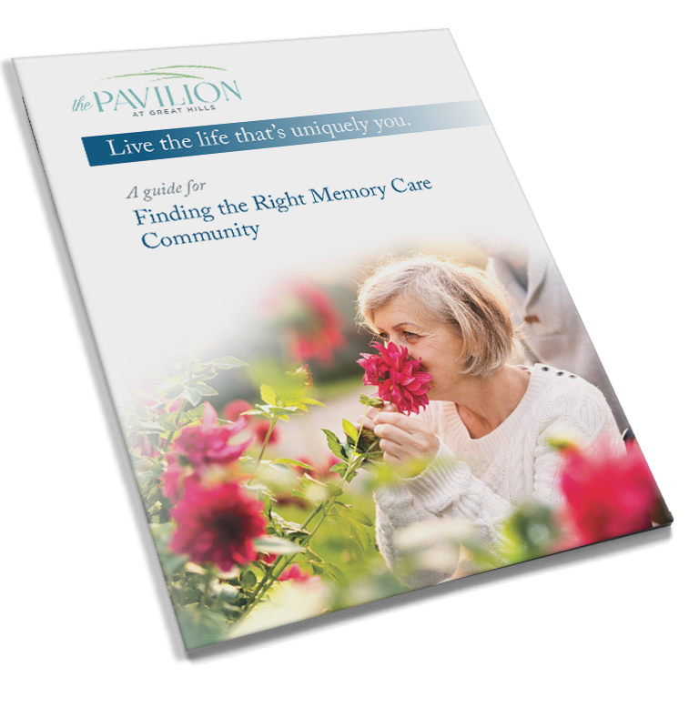 Download our memory care guide to help you learn more about The Pavilion at Great Hills.
